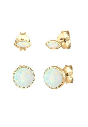 Elli Germany gold Perhiasan Wanita Perak Asli - Silver Anting Set Marquise Opal Stone lapis Emas 427AAAC5796006GS_1