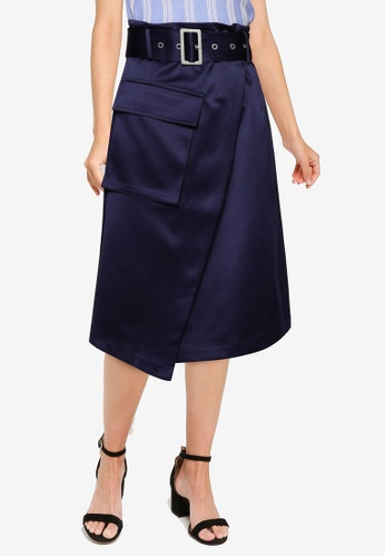 URBAN REVIVO blue Belted Wrap Skirt 0F1C0AAFBA7B11GS_1
