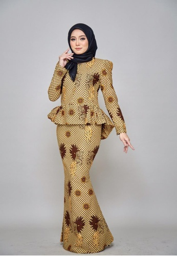 ROSSA COLLECTIONS orange and yellow CHYARA 3.0 - Batik Peplum Inara for Lady 1D2B6AA21012D0GS_1