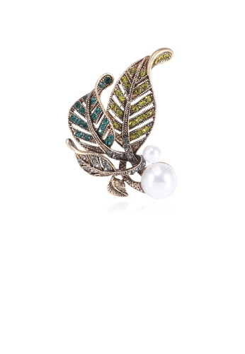 Glamorousky white Fashion Vintage Plated Gold Double Leaf Imitation Pearl Brooch with Cubic Zirconia 1DC13ACCE5D450GS_1