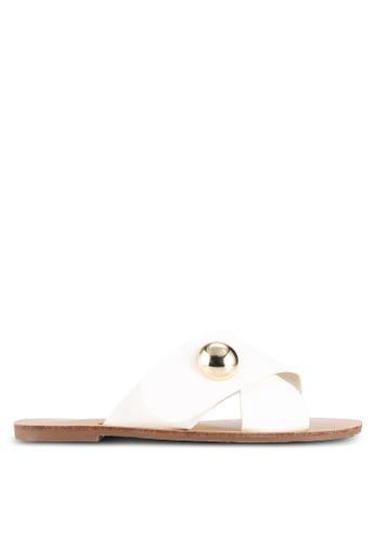 Something Borrowed white Cross Over Sandals 27B56SH7C55CA1GS_1