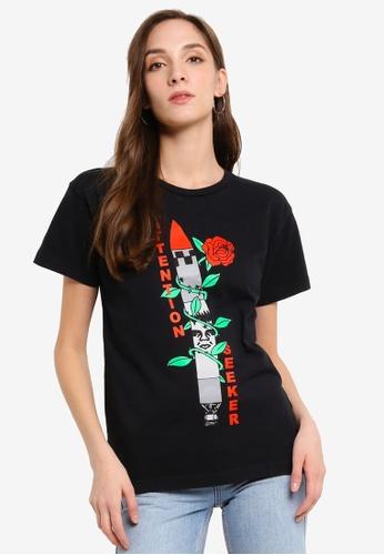 OBEY black Attention Seeker T-Shirt FE204AA9C923D6GS_1