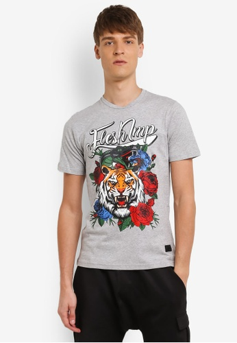 Flesh IMP grey Floral Tiger Retro T-Shirt FL064AA0RNA0MY_1