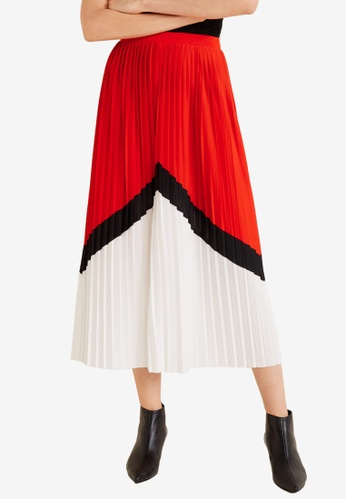 Mango red and multi Combined Pleated Skirt 0109CAAABF71C8GS_1