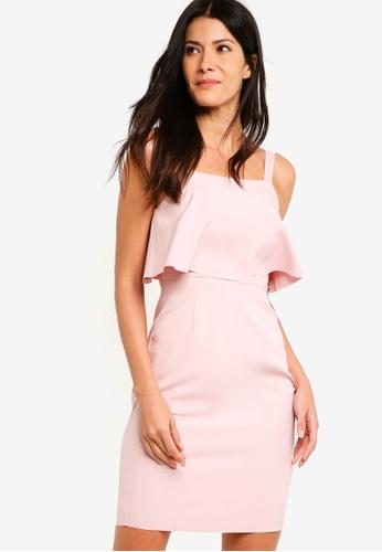 ZALORA pink Ruffles Sheath Dress 04529AA5ED07A0GS_1