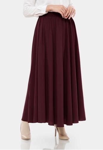 zelena red Bellanca Wolfis Pleated Maxi Skirt - Burgundy 21A13AADAACFD0GS_1