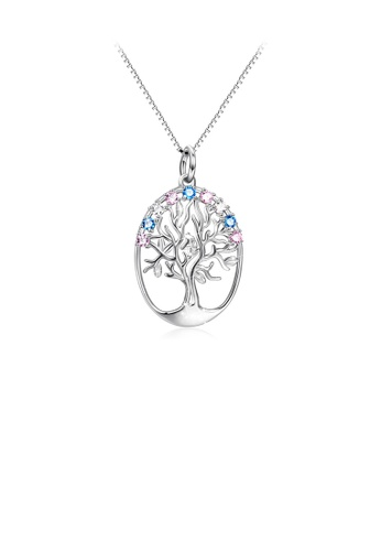 Glamorousky silver 925 Sterling Silver Fashion and Elegant Tree Of Life Oval Pendant with Cubic Zirconia and Necklace 84F1BACC883BA9GS_1