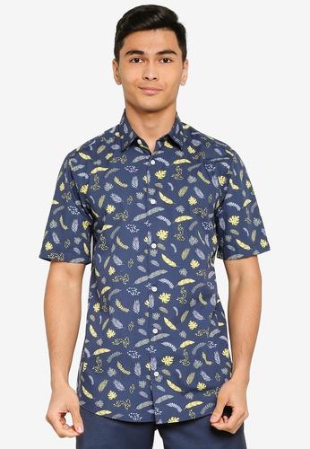 Only & Sons blue Vain Short Sleeve Printed Poplin Shirt BB8E9AAD410DFBGS_1