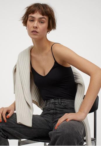H&M black Seamless Strappy Top 4EEDBAA8F1DA07GS_1