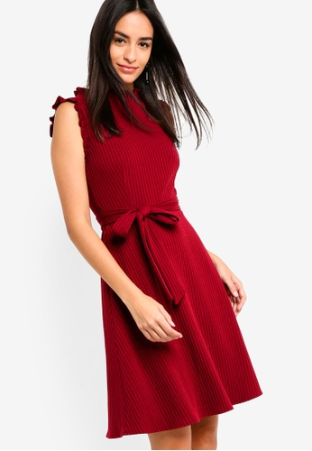 ZALORA red Ruffles Trimmed Rib Dress 98695AA2D54287GS_1