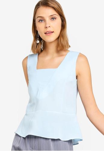 ZALORA 藍色 無袖荷葉飾上衣 189CFAA3FA54C8GS_1