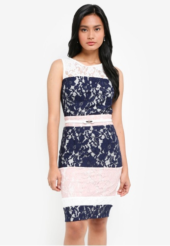 Paper Dolls multi and navy Soft Lace Contrast Colour Block Dress With Cream Belt B1971AA231205AGS_1