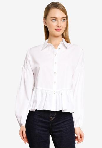 Miss Selfridge white White Oversized Poplin Shirt 47DCFAA7C0D99BGS_1