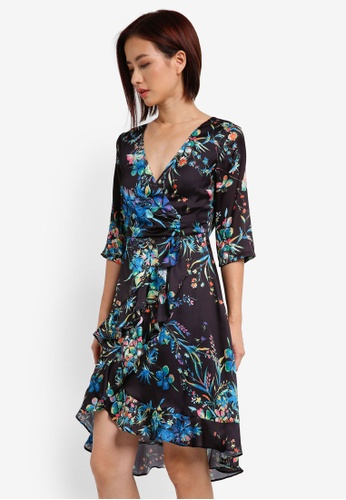 ZALORA black 3/4 Sleeve Asymmetrical Wrap Dress 6FE75AA0366E58GS_1