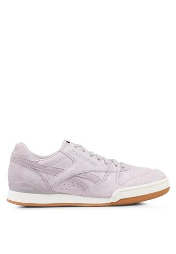 Reebok 粉紅色 and 紫色 and 米褐色 紋理皮革運動鞋 D26BDSHC207CBCGS_1