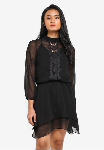 Preen & Proper black Long Sleeve Blouson Sheer Dress 07BA9AA6323E1EGS_1