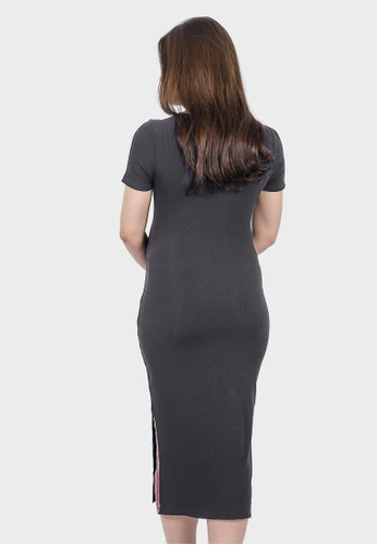 54700bfbb7 Buy 9months Grey Ribbed Knits Maternity Dress Online