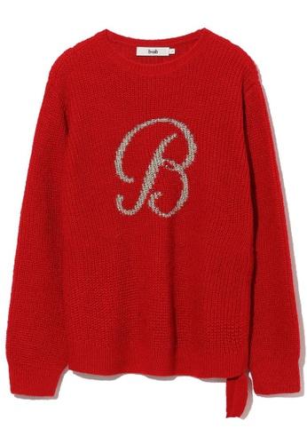 "b+ab red ""B"" intarsia sweater E4DF5AA25D1616GS_1"