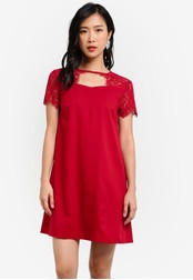 ZALORA red Lace Yoke Swing Dress AA243AAB8C7117GS_1