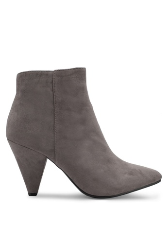 MISSGUIDED grey Cone Heel Ankle Boots MI511SH0SP8FMY_1