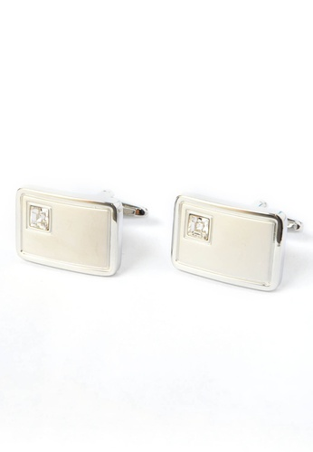 Splice Cufflinks silver Brushed Silver Cufflinks with Crystal in Corner SP744AC57ZKKSG_1
