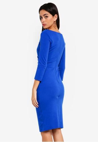 4f544cb2c Buy Goddiva Asymmetric Neck Midi Dress With Waist Buckle Online on ...
