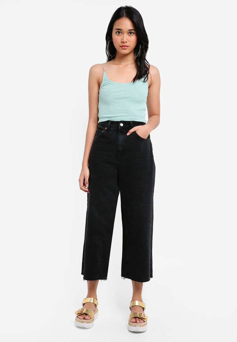Leg Moto Jeans Washed Washed TOPSHOP Cropped Wide Black Black xXgwqnf