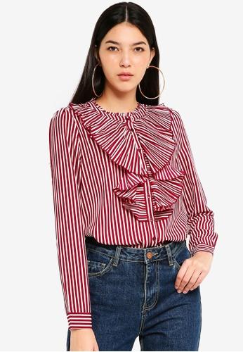 ONLY white Milan Striped Pleat Shirt 7DBFDAAB90EF59GS_1