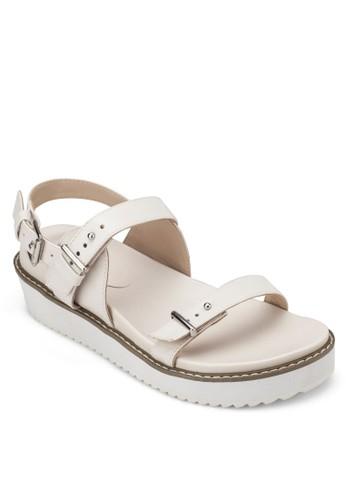 厚底扣環zalora 順豐帶繞踝涼鞋, 女鞋, 涼鞋