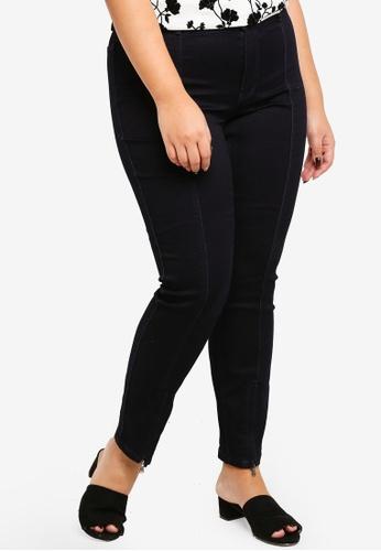 Junarose navy Plus Size Queen Dark Blue Ankle Split Hem Jeans 722C0AA136E027GS_1