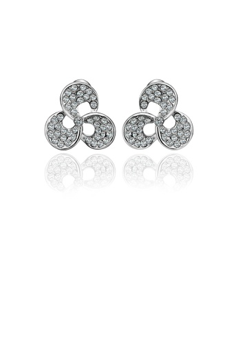 Glamorousky white Fashion Three-leafed Clover Stud Earrings with Austrian Element Crystal 348CCAC8BD1234GS_1