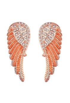 Treasure by B&D E035-A Angel's Wings Shaped Czech Drilling Stud Earrings