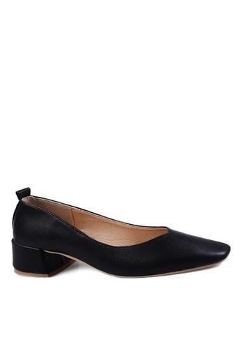 Twenty Eight Shoes 黑色 簡約方頭中跟鞋 VL1681 37085SH97F47C6GS_1