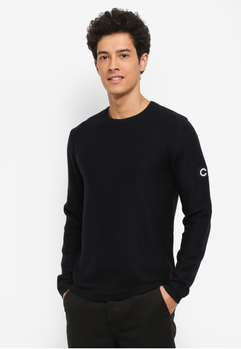 Jack & Jones navy Grand Knit Crew Neck E4F64AA0CA2C60GS_1