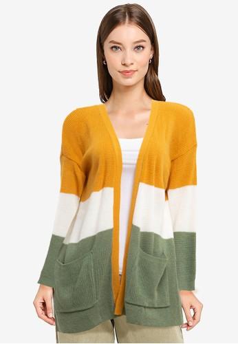 Button On yellow Stripes Kimono Cardigan F1F98AA51C5C73GS_1