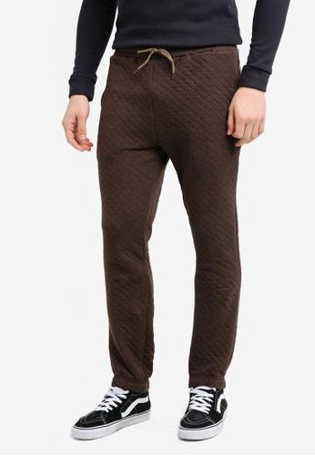 UniqTee brown Diagonal Weave Jogger Pants FCF0EAA2148E0CGS_1
