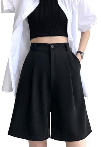 Twenty Eight Shoes black VANSA Solid Color Wide-leg Suit Shorts   VCW-St6683 D7AB0AA0802F27GS_1