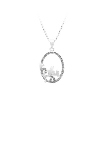 Glamorousky silver 925 Sterling Silver Flower Pendant with White Cubic Zircon and Necklace DF45FAC09487A6GS_1