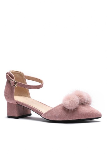 Twenty Eight Shoes Fur Ball Strap Mid Heel 166-31 7DF00SH58AB946GS_1
