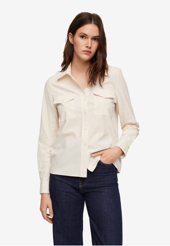 Mango white Chest-Pocket Cotton Shirt 7C0F8AA74B852DGS_1