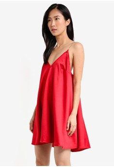 細肩帶綢緞短洋裝