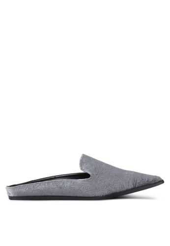 Something Borrowed grey Velvet Embossed Slip On Flats 2C99ESH10C09FCGS_1