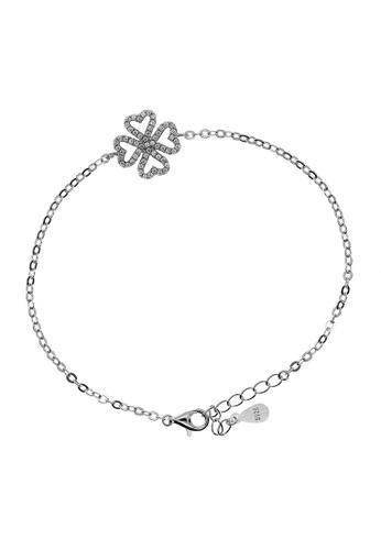 Elfi silver Elfi 925 Genuine Silver Clover Leaf Charm Ladies Chain Bracelet SB-43M 3F8A0ACA1990B4GS_1