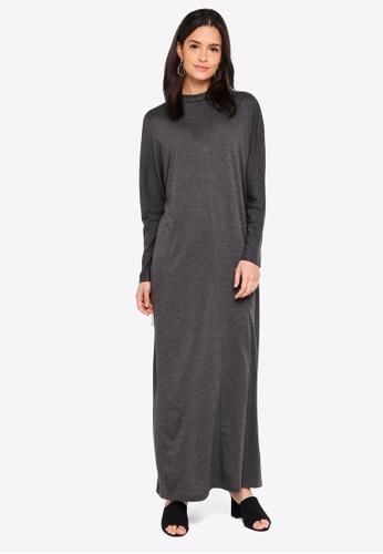 Zalia grey High Neck Column Dress 9BA4EAA6802300GS_1
