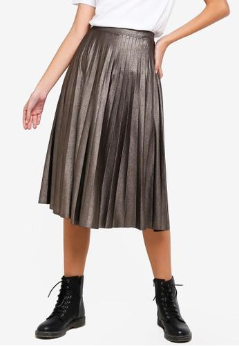 OVS grey Shiny Pleated Longuette Skirt 0B39EAAB9DAC7EGS_1