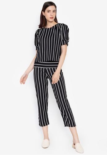 7bd4212189aed7 Huxley black Stripes Pop Sleeve Blouse and Square Pants Set  CC2E7AA72D3ED2GS 1