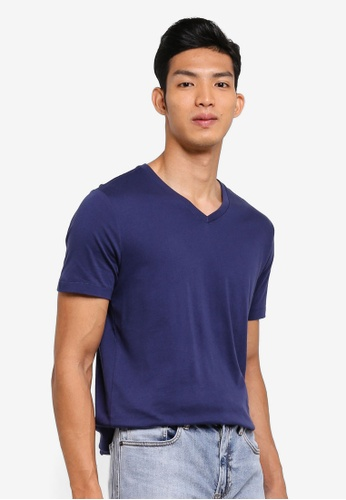 GAP blue Essential V-Neck T-Shirt 85F29AAB059068GS_1