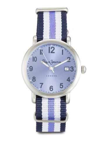 R235110esprit門市5513 Charlie 條紋尼龍女士圓錶, 錶類, 飾品配件