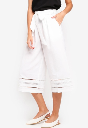 ZALORA white Culottes With Lace Trim Hem 09F21AAE1135F3GS_1