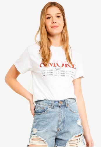 Miss Selfridge grey Gem Amore T-Shirt 7FEA5AAFA59923GS_1